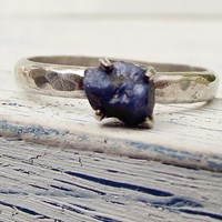 Rough Uncut Sapphire Ring Natural Sapphire Sterling Silver Gemstone Ring