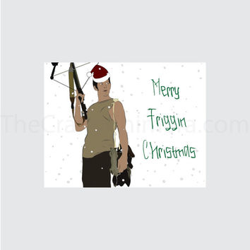 Daryl Dixon Printable Christmas Card The Walking Dead
