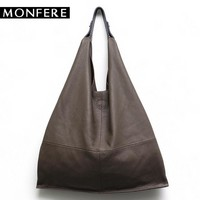 MONFERE Casual Women Hobo Bag Soft Genuine Cow Leather Fashion Shoulder Bags Female Large Tote Bucket Shopping Handbag&Liner Bag