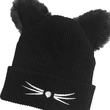 Knit Wool Cat Ears Beanie