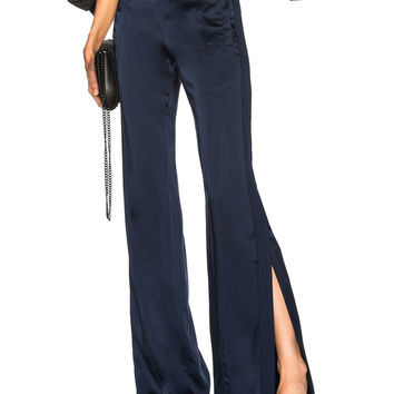 JONATHAN SIMKHAI Combo Stitch Sateen Side Slit Pant in Midnight | FWRD
