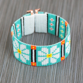 Hippie Chic Daisies Bead Loom Cuff Bracelet Native American Style Beaded Jewelry Boho Tribal Turquoise Beadweaving Southwestern
