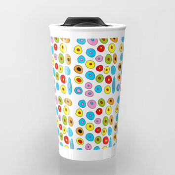 multicolor 3 polka dot-polka dot,pattern,dot,polka,circle,disc,point,abstract,kitsch Travel Mug by oldking