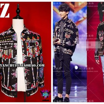 Latest exclusive high-quality luxury hand-sewn button denim costume men's jacket male DJ singer T.O.P GD masculino asrv skt