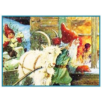 Elf Presents Ram Sled Peeking in Window Jenny Nystrom  Holiday Christmas Counted Cross Stitch Pattern