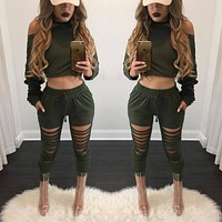 Pure Color Hole Short Blouse with Skinny Pants Two Pieces Set
