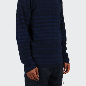 Sigfred Slub Stripe Sweater - navy