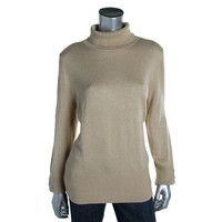 JM Collection Womens Knit Metallic Turtleneck Sweater