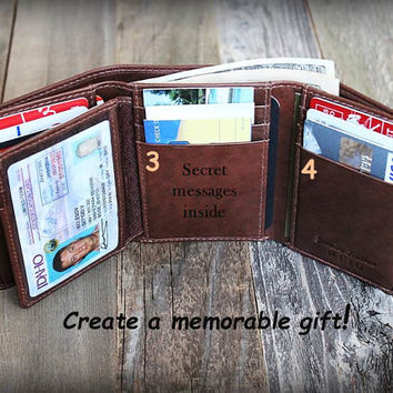 Valentine's Gift for him - Trifold Mens Wallet - Personalized Mens Wallet - RFID Wallet - Gift for Dad - Leather Mens Wallet - Toffee - 7133