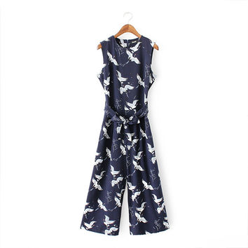 Summer Print Sleeveless Jumpsuit [4919982660]