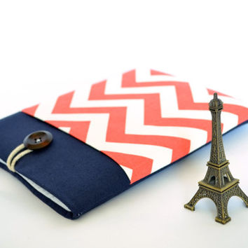 MacBook Case, Laptop Sleeve, 11 inch, 13.3 inch, 15 or 15.6 Navy Linen Laptop Case with Pocket - French Chevron