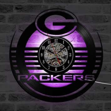 NFL GREEN BAY PACKERS Pattern Antique Hollow Round Vinyl Record Wall Clock Creative Personalised Wall Clock LED Lighting