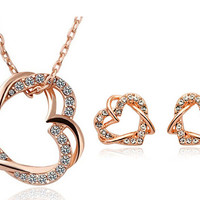 18K Gold/Platinum Plated Double Heart Necklace Earrings Jewelry Set Love High Quality