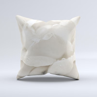 Drenched White Rose ink-Fuzed Decorative Throw Pillow