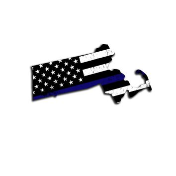 Massachusetts Distressed Subdued US Flag Thin Blue Line/Thin Red Line/Thin Green Line Sticker. Support Police/Firefighters/Military