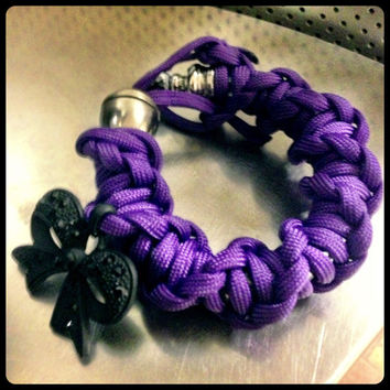 Twisted Handmade Hookah Pipe Bracelet with Bow Charm by iSewCutee