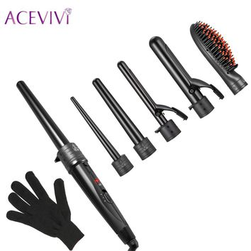 ACEVIVI 5 in 1 Pro Hair Curler Styler Curling Iron Hair Curler Waver Maker Hair Straightener Multifuctional Brush EU UK US Plug