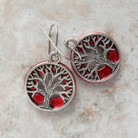 tree of life earrings: red - dangle earrings - celtic jewelry - stocking stuffer - tree jewelry - wiccan earrings - gifts for her