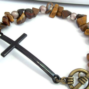 Cross Bracelet, Brown Gemstone Beads, Black Sideways Cross Jewelry, Christian Bracelet, Black Cross Pendant