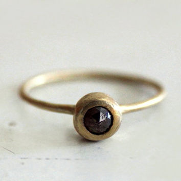 Chocolate Brownie rose cut diamond ring. An earthy stone. Beya.