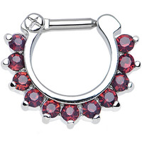 "14 Gauge 1/4"" Passionate Purple Gem Septum Clicker 