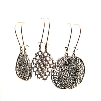"Copper Filigree ""Lace"" Earrings"