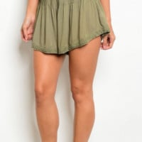 Olive Button-Up Shorts
