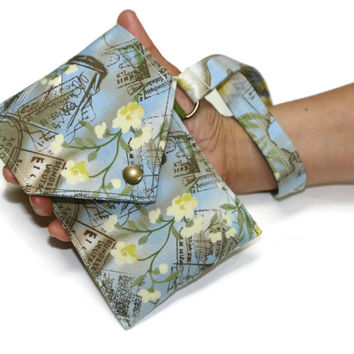 Cell Phone Wallet - Blue and yellow - ocean print - Iphone Wallet - Smartphone purse