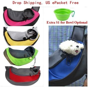 Pet Carrier Cat Puppy Dog Carrier Sling Front Mesh Travel Tote Shoulder Bag Backpack Silicone Bowl ping By ePacket