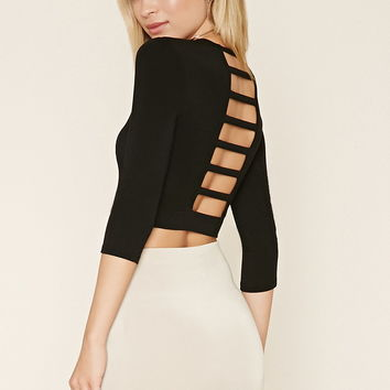Laddered-Cutout Crop Top