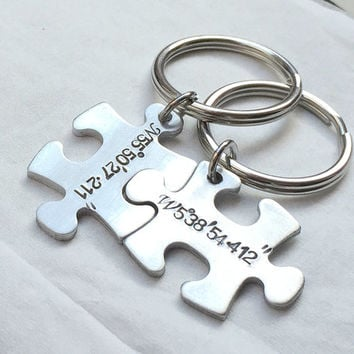 Silver coordinates keychain, puzzle piece keychain, personalized bridesmaid Gift for couples, Coordiantes, jigsaw, Silver keyring, His hers