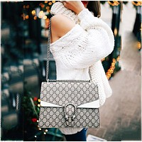 Guchi sells fashionable Dionysian printed bags, snake square oblique bags White