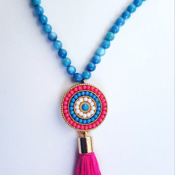 Blue beaded tassel necklace // blue gemstone necklace // mandala pendant // pink tassel // bohemian necklace // long beaded necklace //