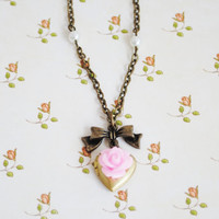 Pink Rose Heart Locket with Bow Charm Girl's Necklace - Girl's Locket
