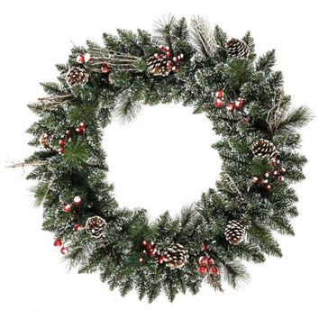 Frosted Holly Wreath - 139 Branch Tips