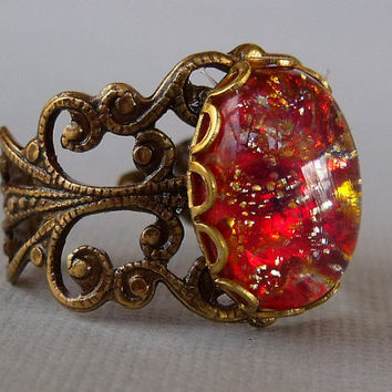 Red Harlequin Rose Opal Ring by pinkingedgedesigns on Etsy