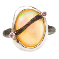 Ring with White Ethiopian Opal