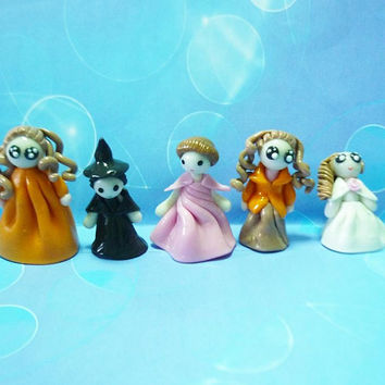 Mini dolls-5 women clay figurines -miniature doll house -polymer clay figurines -girl figurine -miniature people