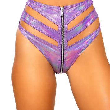Roma Rave 3726 - Cutout High-Waisted Shorts with Zipper Closure