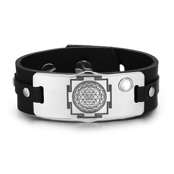 Sri Yantra Chakra Magical Energy Amulet White Simulated Cats Eye Adjustable Leather Bracelet
