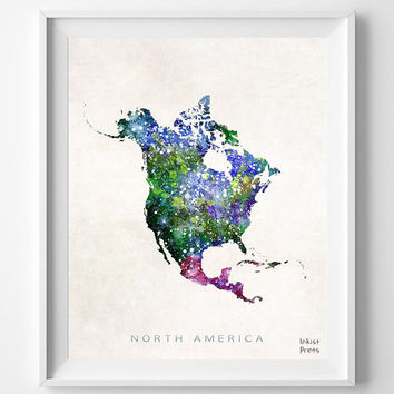 North America map, Watercolor, Poster, Painting, world map, Art, Northern Hemisphere, Wall Decor, silhouette, state love [NO 352]