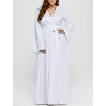 Plus Size Long Sleeve Maxi Formal Dress - White