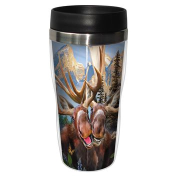 Two Moose Selfie Travel Mug - Premium 16 oz Stainless Lined w/ No Spill Lid