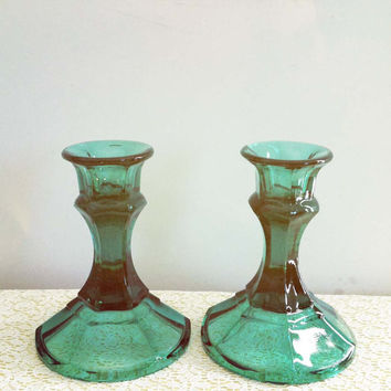 Vintage Emerald Green Glass Candlestick Holders--Pretty & Timeless