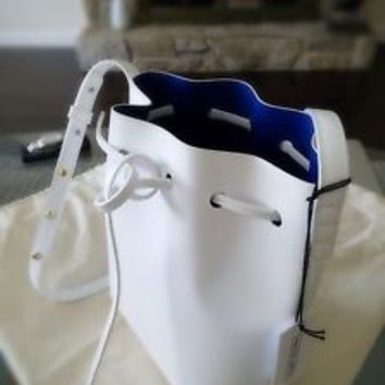 Mansur Gavriel mini bucket bag (White/Navy)+free shipping, Calf leather