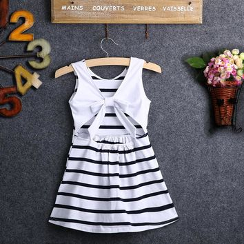 2017 Summer Baby Kids Dresses Girls Party Wedding Striped Bowknot Gown Fancy Dress 2-7Y