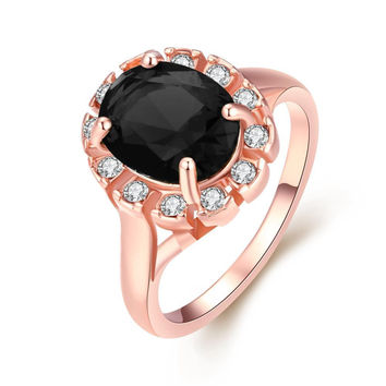 Rose Gold Midnight Black CZ Stone Ring