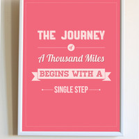 The Journey Of A Thousand Miles Begins With A Single Step Quote Inspirational Life Saying Motivational Pink Print Poster Bedroom Wall Decor