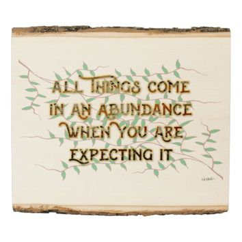 Abundance Quote by Kat Worth Wood Panel