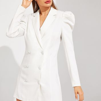 Double Breasted Puff Sleeve Solid Dress